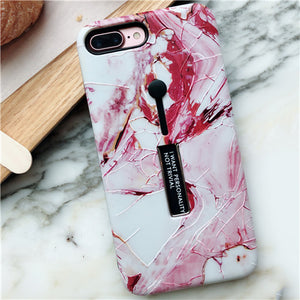 For iphone 6 6s 7 8 Plus X Marble Flower Flamingo Soft silicon Ring Phone Case For iphone 6 Case Hide Stand Holder Cover