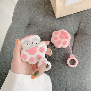 Bluetooth Earphone Case for Airpods Cute Accessories Protective Cover Anti-lost Strap for airpods 2 Silicone 3D design Cat paw