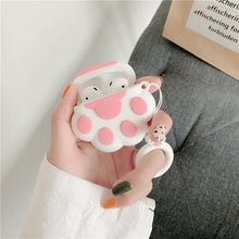 Load image into Gallery viewer, Bluetooth Earphone Case for Airpods Cute Accessories Protective Cover Anti-lost Strap for airpods 2 Silicone 3D design Cat paw