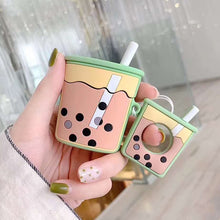 Load image into Gallery viewer, For AirPods 2 Case Cartoon Cute Soft Milk Bubble Tea Drink Bottle Earphone Protect Cover For Airpods 2 1 with Finger Ring Strap