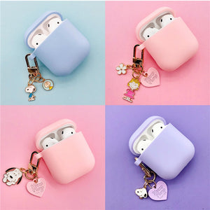 Cute Cartoon Dog Silicone Case for Apple Airpods Cover Case Accessories Bluetooth Earphone Headphones Protective Decor Key Ring