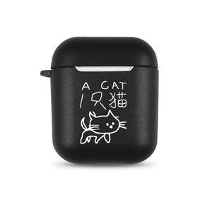 Warning English Words Soft TPU Case for Apple Airpods 1/2 Cover Cartoon No Face Man Bluetooth Wireless Earphone Headphone Box