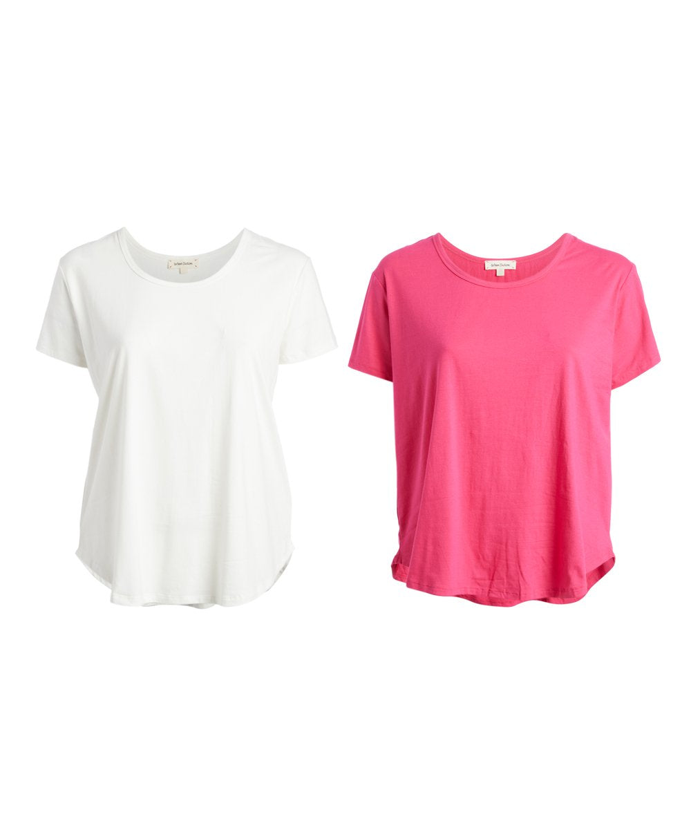 Urban Diction PLUS SIZE 2 Pack Pink and White Round-Hem Scoop Neck Top -