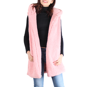Pink Sherpa Open Front Hooded Sleeveless Vest