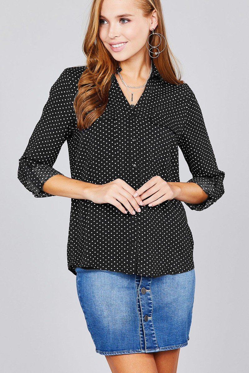 3/4 Roll Up Sleeve Front Patch Pocket Ot Print Rayon Challis Woven Shirt - shopsatang.com
