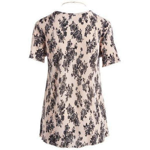 Urban Diction 2 Pack White & Pink Floral Short-Sleeve Top & Necklace Set-Women