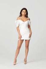 Loveday Collection Hamptons Dreamin' White Mini Dress With Puffy Sleeves