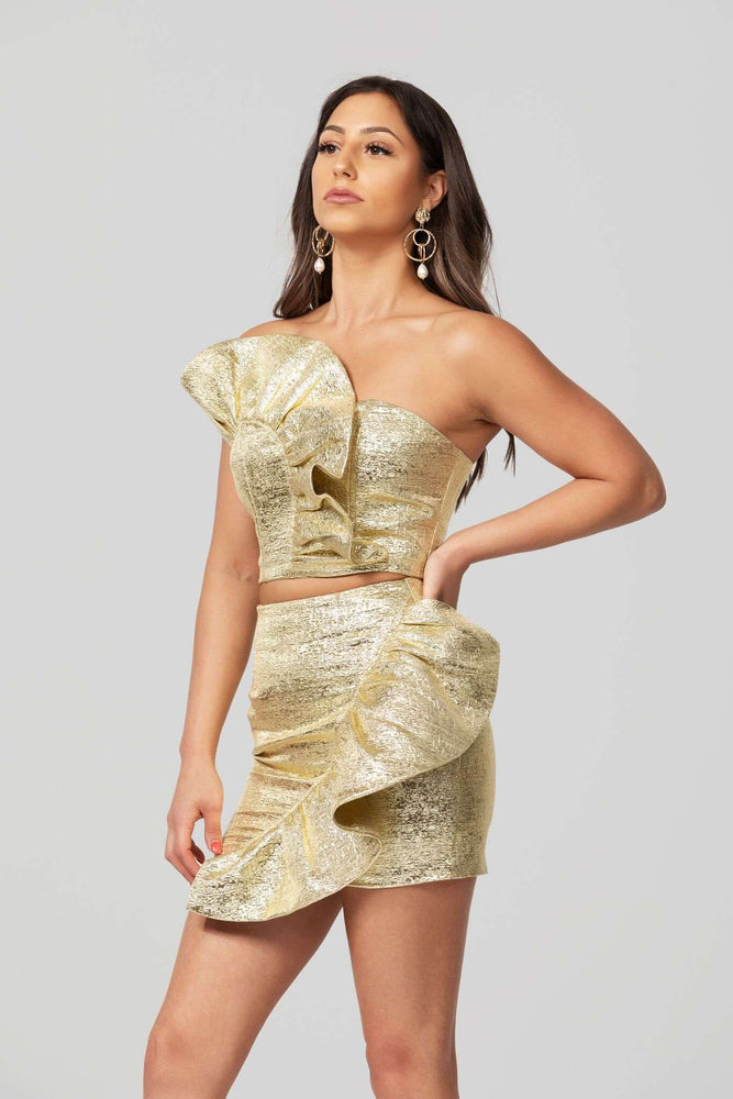 Loveday Collection Dripping in Gold Ruffle Mini Skirt