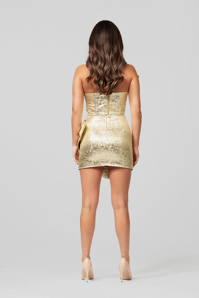 Loveday Collection Dripping in Gold Ruffle Strapless Bustier