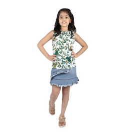 Floral tops and denim skirts for girls