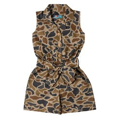 Girls Brown Camouflage Jumpsuit