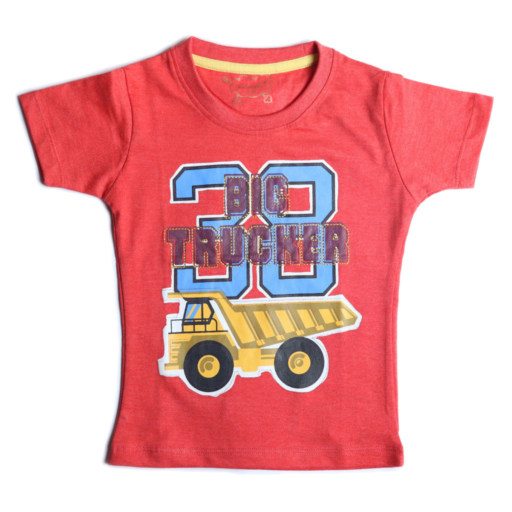 Boys Red Truck Print T-shirt