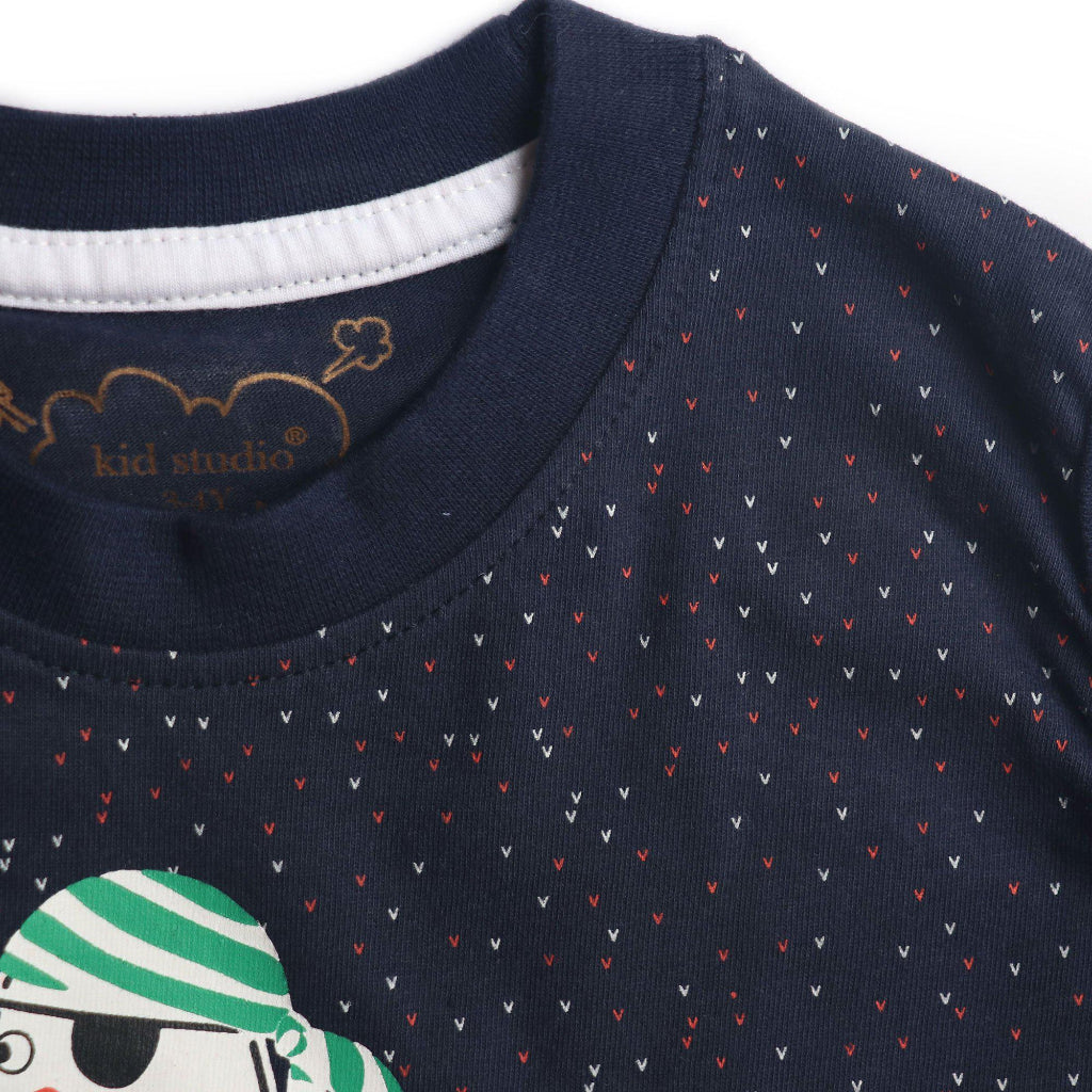 Boys Sleeveless Printed Tshirt, Navy Blue - www.kidstudio.in