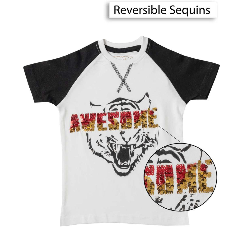 Boys White Tiger Print Sequin T-shirt