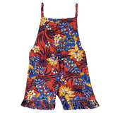 Girls Sleeveless Floral Printed Jumpsuit, Multicolor