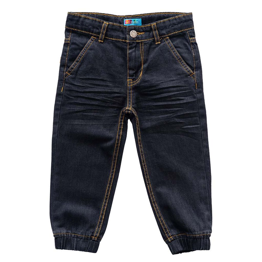 Boys Denim Jeans Joggers Pant, Black