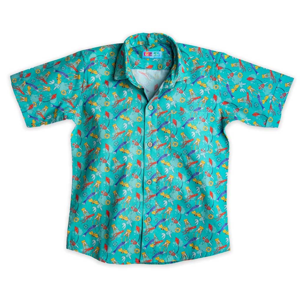 Boy's Cotton Half Sleeve Printed Shirt, Sea Green