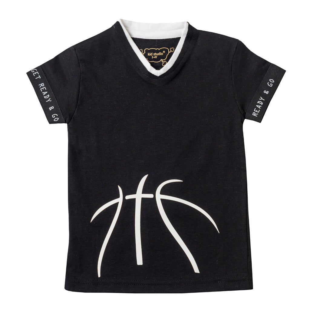 Boys Black Sports Graphic T-shirt