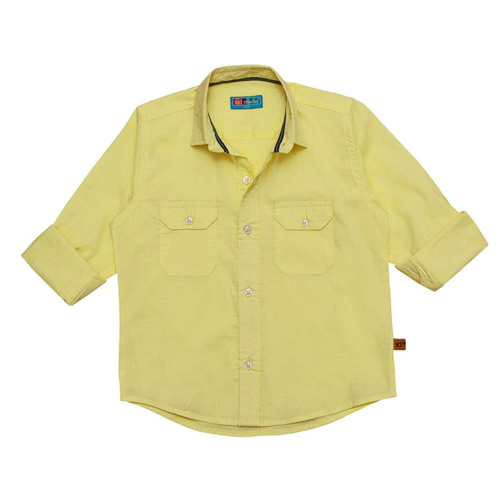 Boys Yellow Cotton Slub Shirt