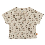 Girls Beige All Over Penguin Print Crop Top