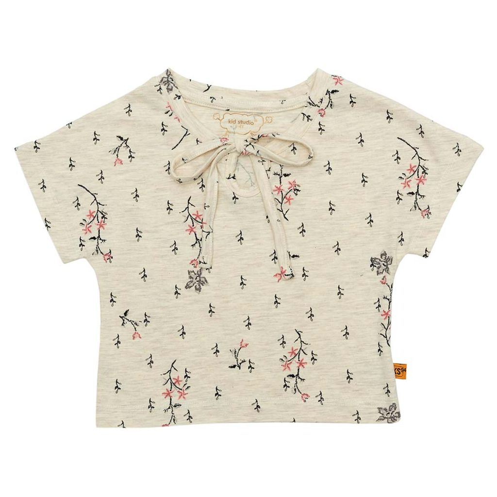 Girls Beige All Over Floral Print Crop Top