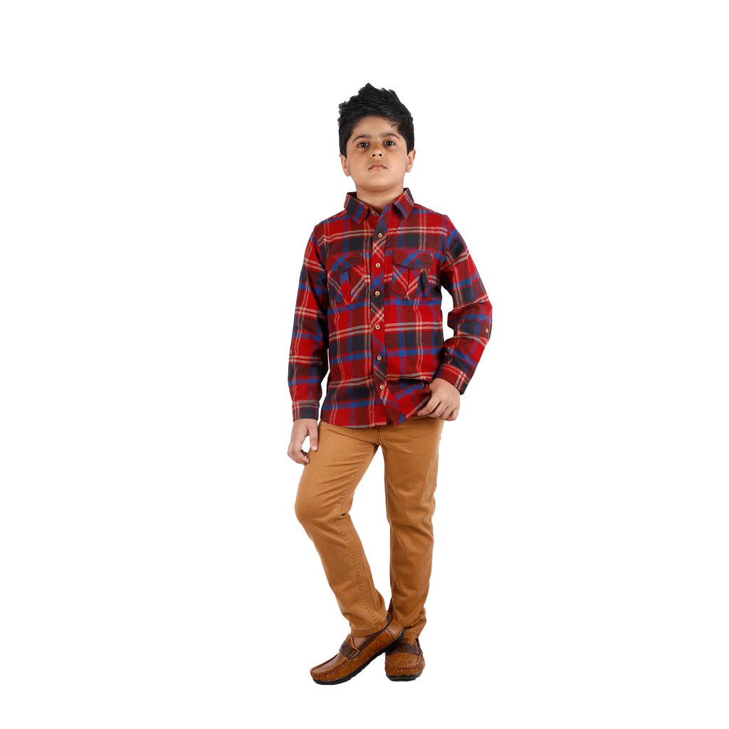 Boy's Long Sleeve Check Shirt, Red