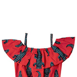 Girls Sleeveless Printed Jumpsuit, Red
