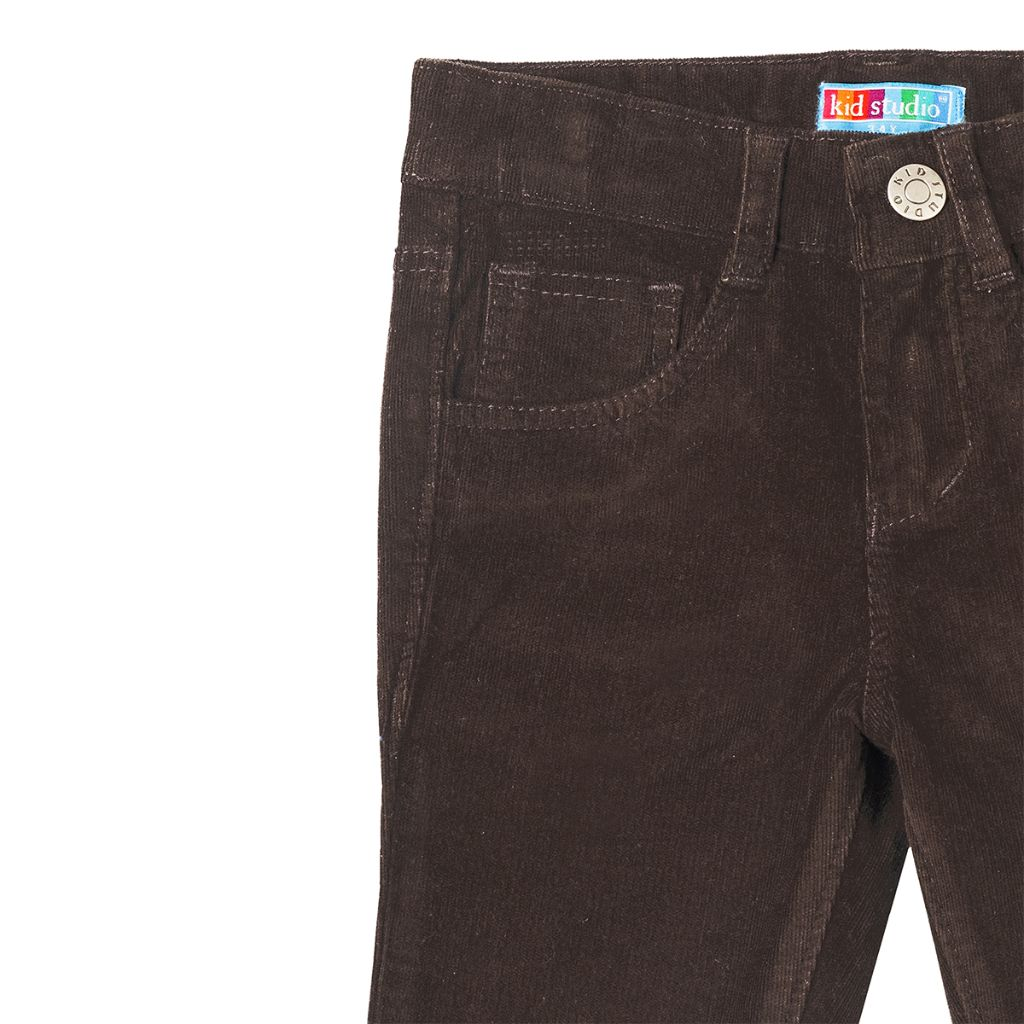 Boys Brown Slim Fit Corduroy Trouser
