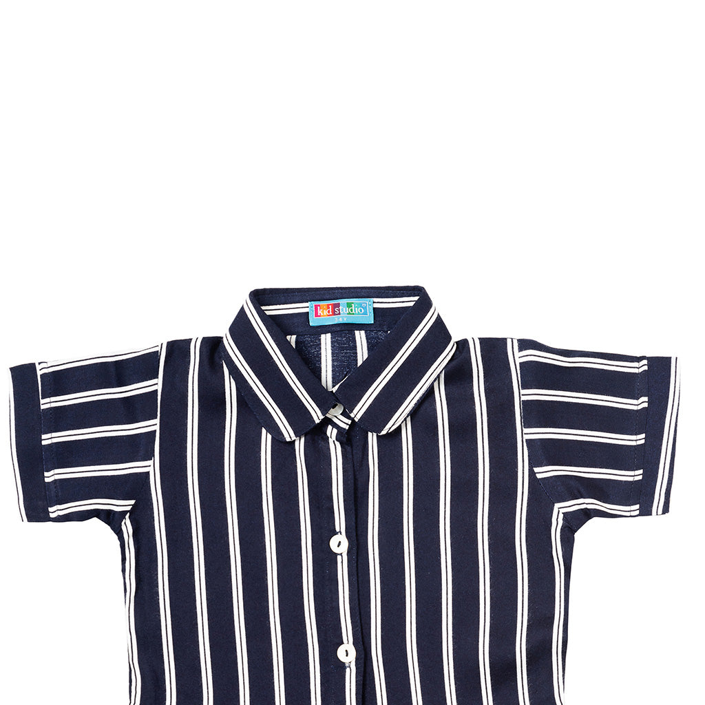 Girls Navy Blue & White Stripes Collared Shirt Top