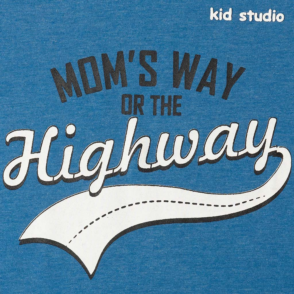 Boys Blue Half Sleeve Graphic Printed Tshirt, Mom's Way Collection