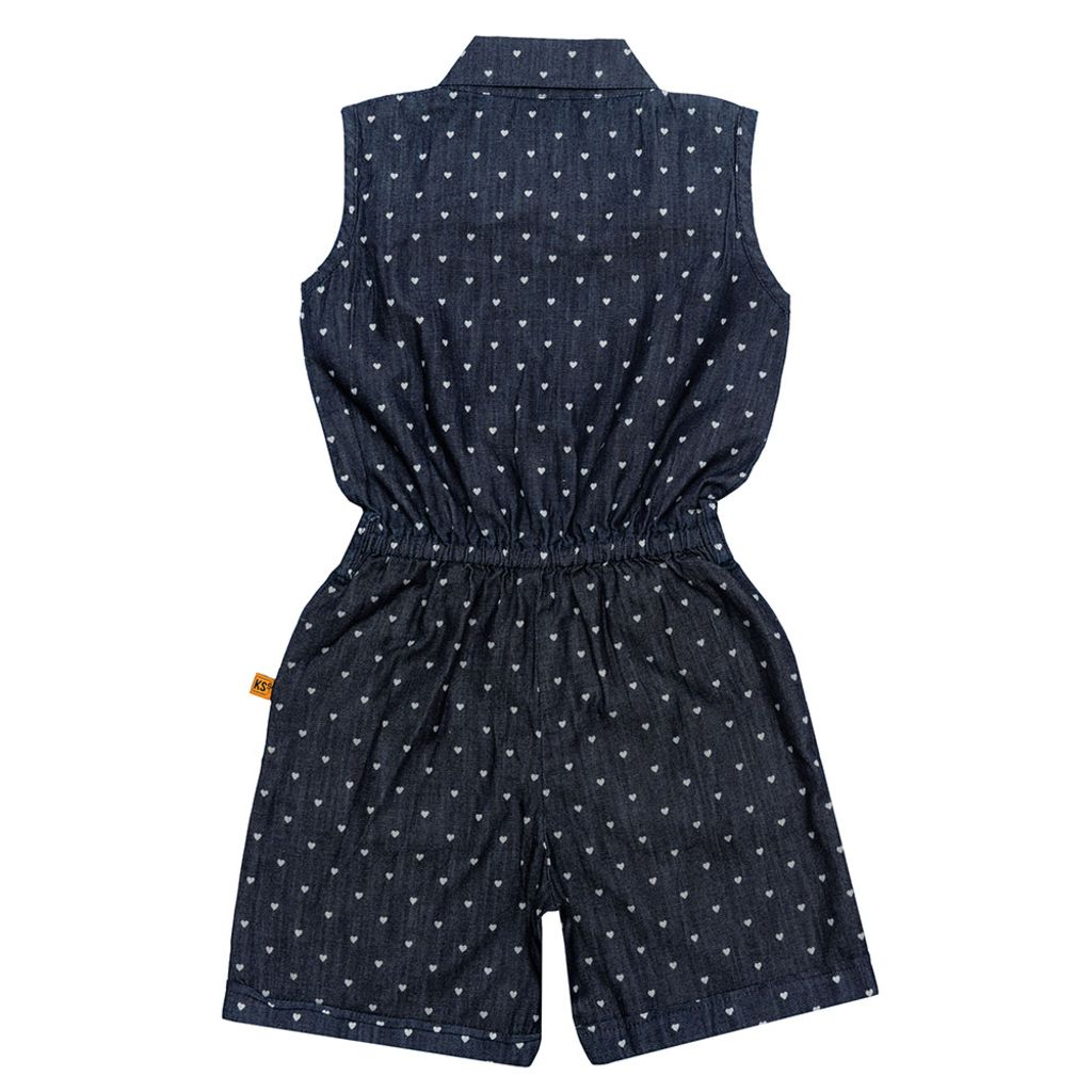Girls Dark Blue Denim Jumpsuit