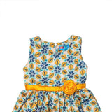 Girl's Partywear Casual Dress, Floral Print, Yellow - www.kidstudio.in