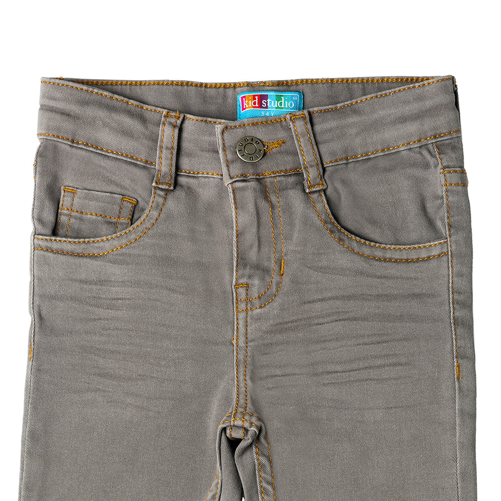Boys Slim Fit Chinos Trouser Pant, Grey