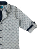 Boy's Long Sleeve Stripes with Print Shirt, Blue & White - www.kidstudio.in