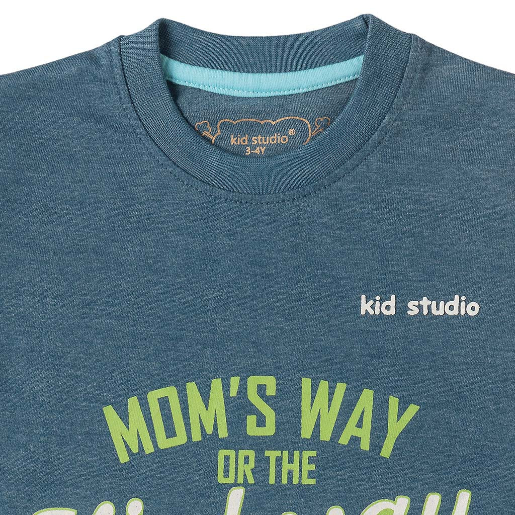 Boys Blue Text Print T-shirt