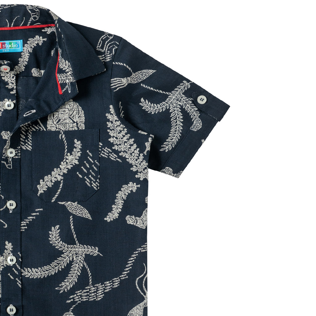 Boy's Half Sleeve Printed Shirt, Oxford Blue - www.kidstudio.in