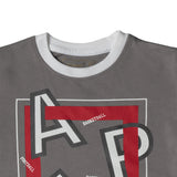 Boy's Half Sleeve Tshirt, Graphic Print, Grey