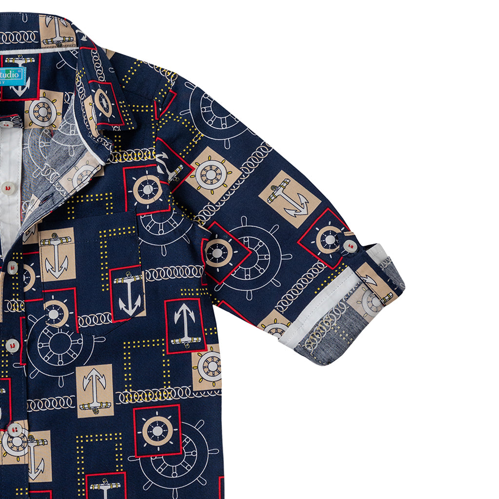 Boys Long Sleeve Printed Shirt, Oxford Blue