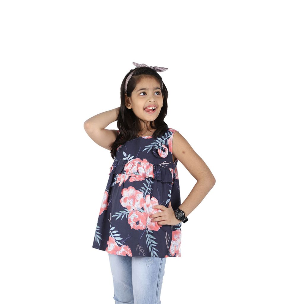 Girls Blue Floral Cotton Top