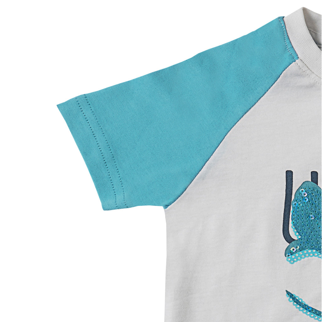 Boys Half Sleeve Sequin Tshirt, White & Turquoise Blue