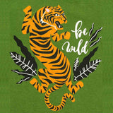Boys Half Sleeve Tiger Printed Tshirt, Olive Green