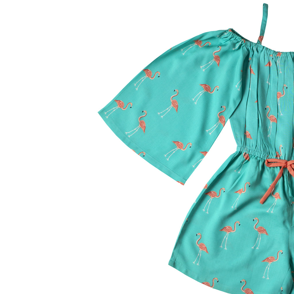 Girls Sleeveless Printed Jumpsuit, Turquoise Blue