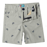 Boys All Over Printed Cotton Shorts, Light Grey