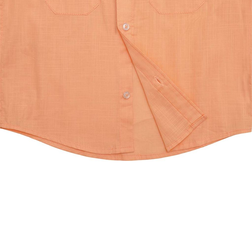 Boys Orange Cotton Slub Shirt