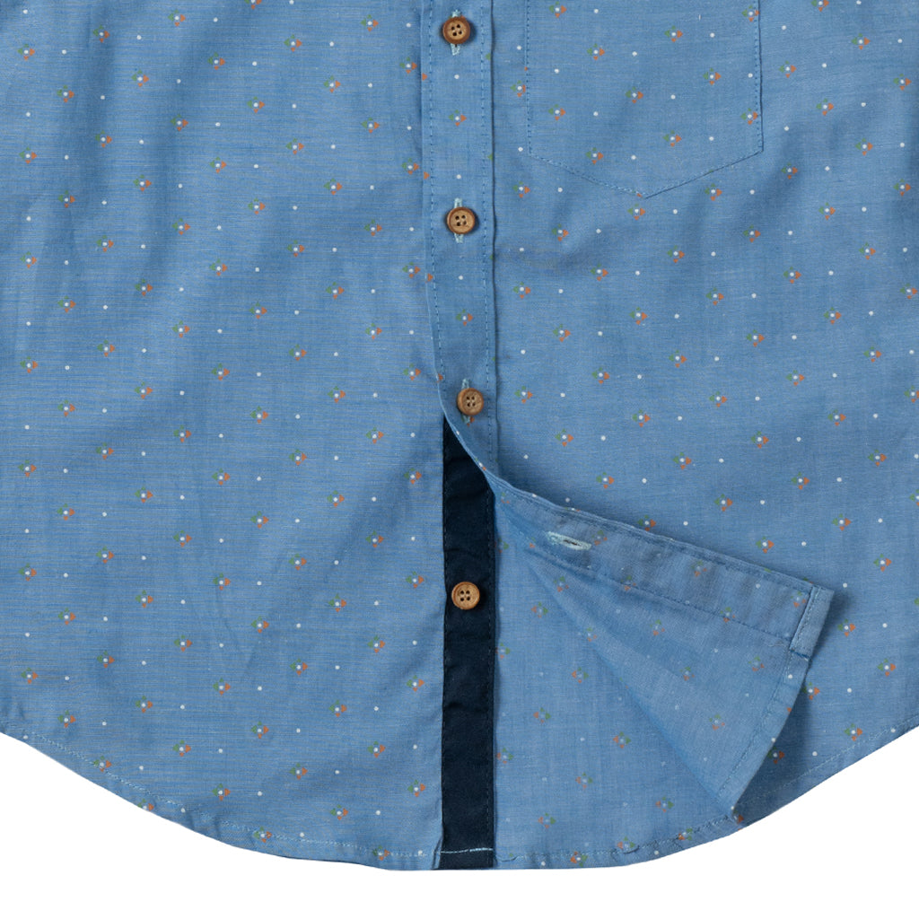 Boys Long Sleeve Printed Shirt, Carolina Blue
