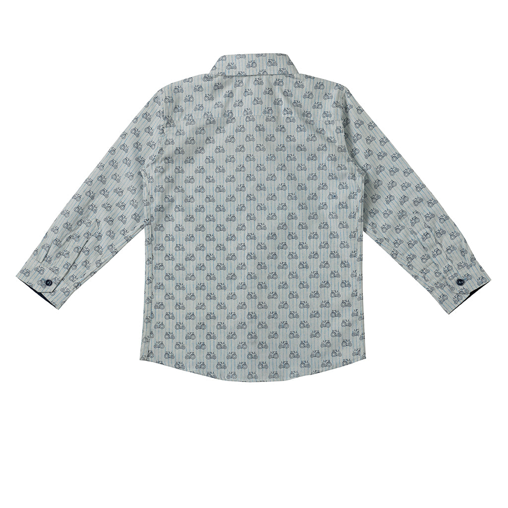 Boys White Motor Print Stripe Shirt