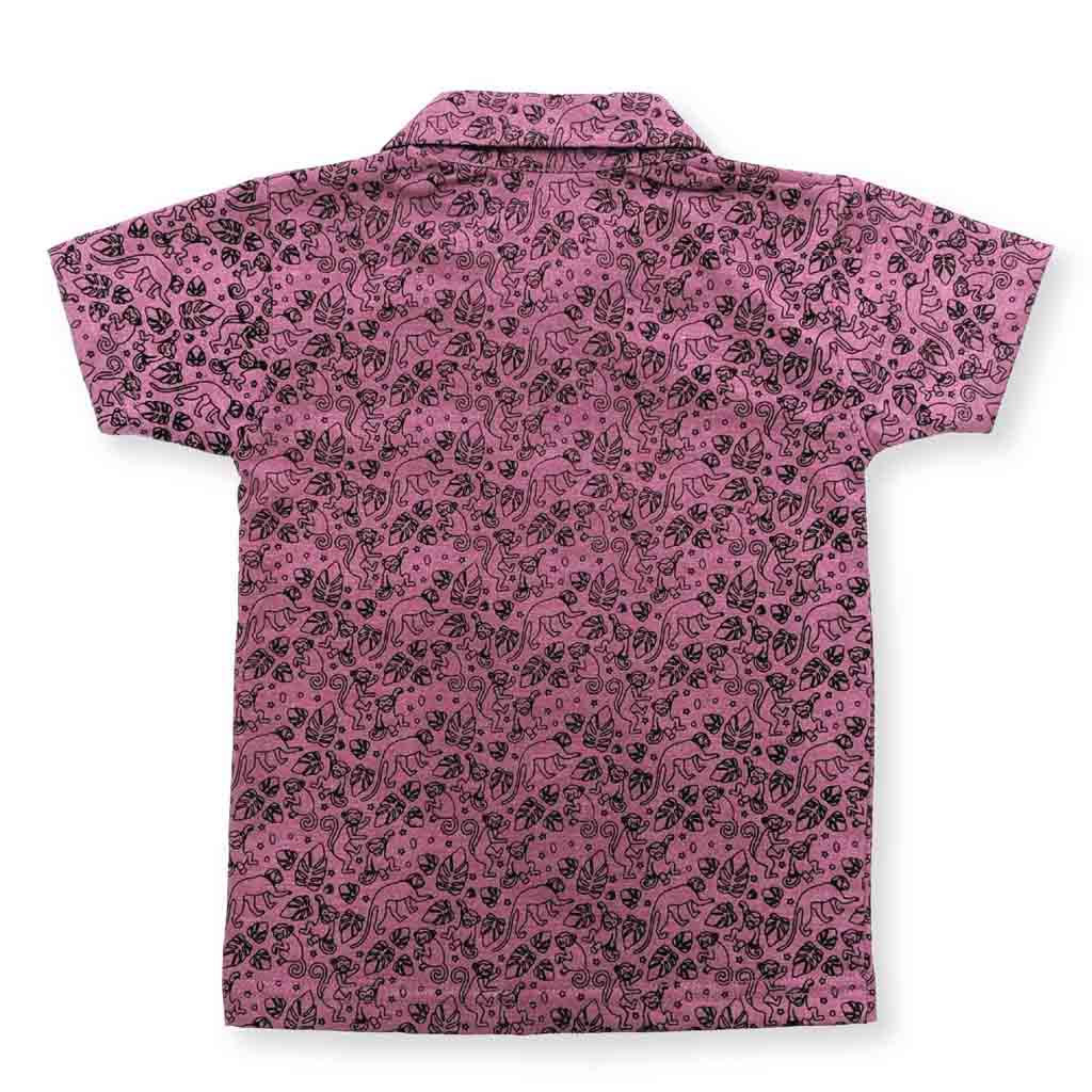 Boys Half Sleeve Single Jersey Printed Shirt, Pink