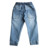 Boys Denim Jeans Joggers Elasticated Waistband Pant, Light Blue - www.kidstudio.in