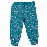 Girls Teal Blue Horse Print Joggers