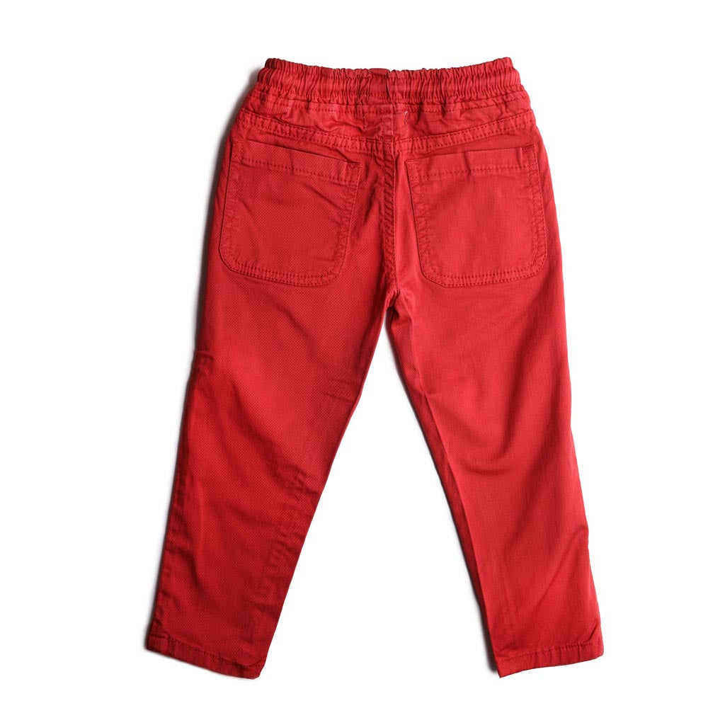 Boys Cotton Trousers Elasticated Waistband Pant, Maroon Red